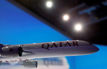A scale model of an Airbus A350-1000 is pictured as Airbus delivers the first A350-1000, the largest member of the new Airbus wide-body family and the largest twin-engined jet built in Europe, to Qatar Airways, in Blagnac near Toulouse