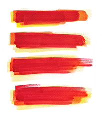 Watercolour. Strokes of red paint isolated on white background