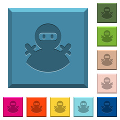 Ninja avatar engraved icons on edged square buttons