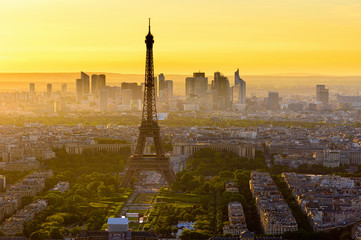 Wall Mural - Skyline of Paris with Eiffel Tower at sunset in Paris, France