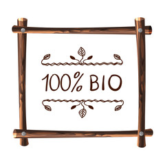 Wooden VECTOR Frame, Natural Frame Template with Handwritten Words: 100 bio.