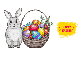 Easter bunny and basket with Easter eggs hand drawn. Vintage vector illustration. Cartoon style, Colorful image.