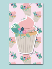 happy birthday card with floral decoration and cupcake vector illustration design