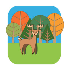 Autumn trees and deer vector illustration