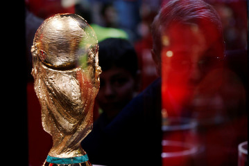 The FIFA world cup trophy is displayed during the Fifa World Cup Trophy Tour, in Amman