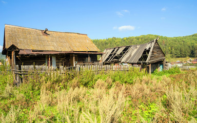 Russia, Bashkortostan, Shushpa village. Old ruined rural house