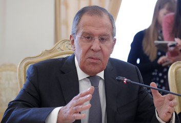 Russian Foreign Minister Sergei Lavrov attends a meeting with his Pakistani counterpart Khawaja Asif in Moscow