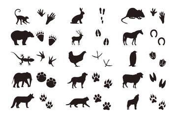 Tierabdrücke mit Silhouette