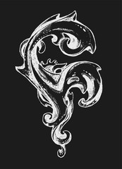 Abstract vintage swirl. Victorian style. Border or frame. Isolated element. Can be used for the tattoo.