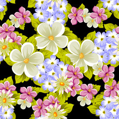 seamless pattern of flowers. For card designs, greeting cards, birthday invitations, wedding, Valentine's day, party, celebration.