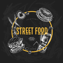 Hand drawn fast food banner. Street food creative flyer.Burger, soda, tomato, bagel, wheat barrels and olives. Chalkboard vector illustration. For restaurant, menu food, flyer poster