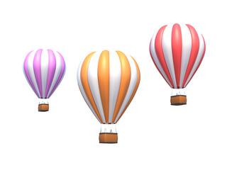 Hot air balloon, colorful aerostat isolated on white. 3d render