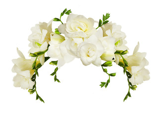 White freesia flowers in a beautiful arch arrangment