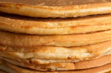 Macro shot of pancakes stacked