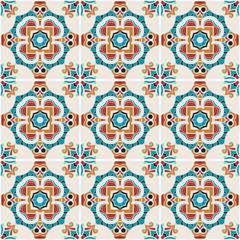 Traditional color ornate portuguese decorative tiles azulejos.