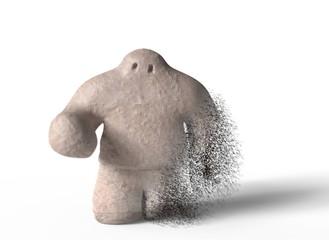 Golem go into dust on white background. 3d illustration