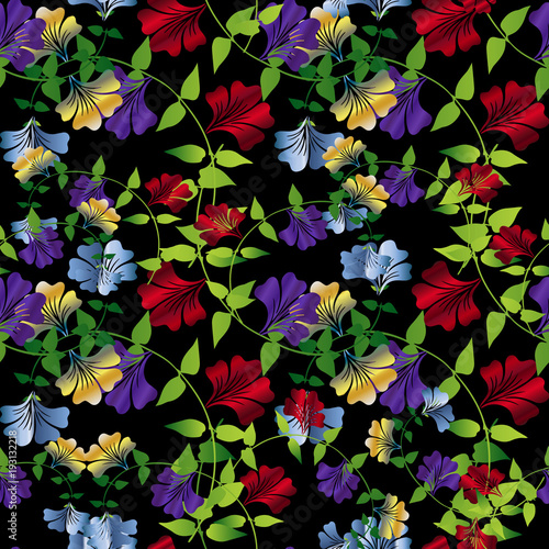 Floral Colorful Seamless Pattern Vector Flourish Background Wallpaper With Vintage Bright Summer Flowers Swirl