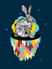 Space rabbit with drips and bubbles with background
