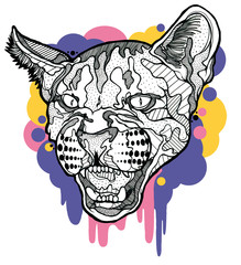 Angry puma with graphic elements