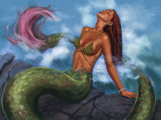 Mythical creature - mermaid sunbathing on the rocks enjoying splashing water