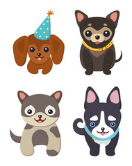 Set of Color Smiling Dogs Vector Illustrations