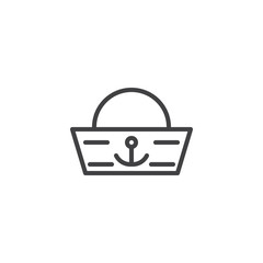 Sailor hat outline icon. linear style sign for mobile concept and web design. Forage-cap simple line vector icon. Symbol, logo illustration. Pixel perfect vector graphics