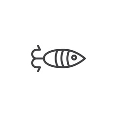 Fish shaped bait outline icon. linear style sign for mobile concept and web design. Fishing simple line vector icon. Symbol, logo illustration. Pixel perfect vector graphics
