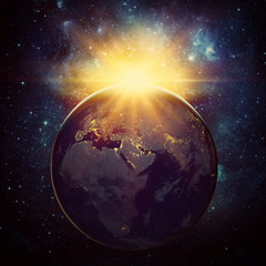 Wall Mural - Earth, sun and galaxy. Elements of this image furnished by NASA
