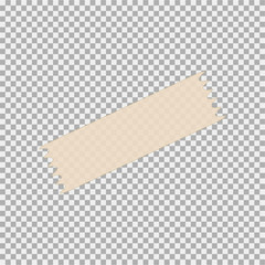 Yellow transparent scotch tape sticky slice. Vector illustration