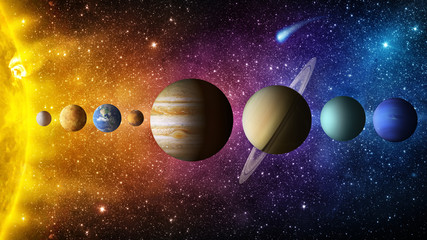 Papiers peints Nasa Solar system planet, comet, sun and star. Elements of this image furnished by NASA. Sun, mercury, Venus, planet earth, Mars, Jupiter, Saturn, Uranus, Neptune. Science and education background.