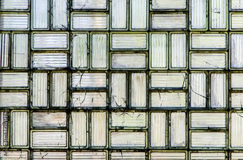 Wand aus Glasbausteinen\