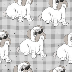 seamless pattern with funny dog. Vector Illustration