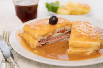 portuguese sandwich francesinha on plate