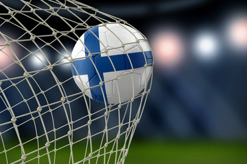 Finnish soccerball in net