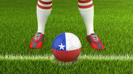 Man and soccer ball  with Chilean flag