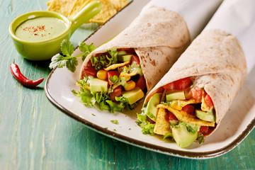 Tasty Tex-Mex vegetarian avocado tortilla wraps