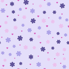 Flower pattern with hearts. Seamless vector