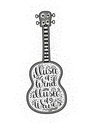 Guitar with intricate patterns and letting inside. Hipster tattoo, print on the T-shirt.  Ukulele with inscription.