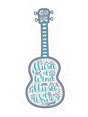 Romantic lettering - the inscription inside the ukulele. Guitar with folk ornaments and words music of wind music of waves.