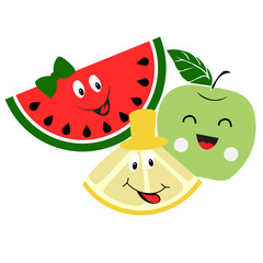 Cute set with funny faces of watermelon, lemon and green apple
