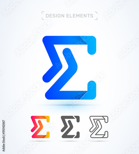 Vector Abstract Letter E Logo Template Sigma Sign Icon Material
