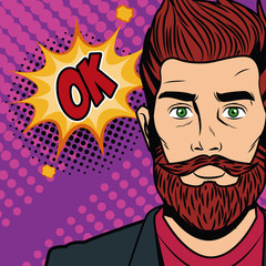Hipster man with speakbox bubble colorful vector illustration graphic design