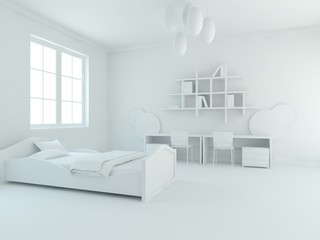 White modern bedroom. Scandinavian interior design. 3D illustration