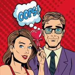 Fashion couple with speak bubble pop art cartoon colorful vector illustration graphic design