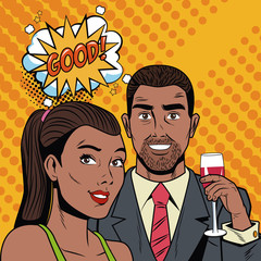 Fashion couple with speak bubble pop art cartoon colorful vector illustration graphic design