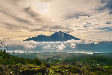 Beautiful view on mountians at sunrise on Bali