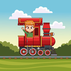 Boy riding in train vector illustration graphic design