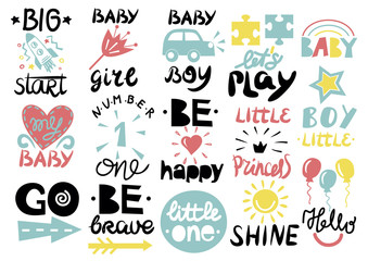 15 children s logo with handwriting Little one, Hello baby, Shine, Girl, Boy, Be brave, happy, GO, Big start, Lets play