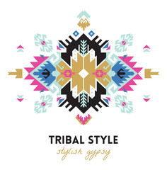 Ethnic design card template. Geometric tribal decorative print in boho style.