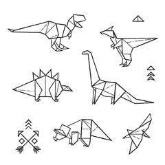 Ink origami tattoos dinosaurs set. Vector illustration